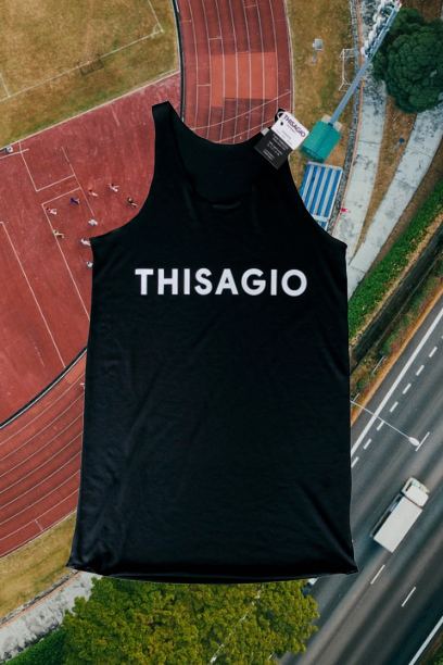 Thisagio Canotta Nera - Logo bianco