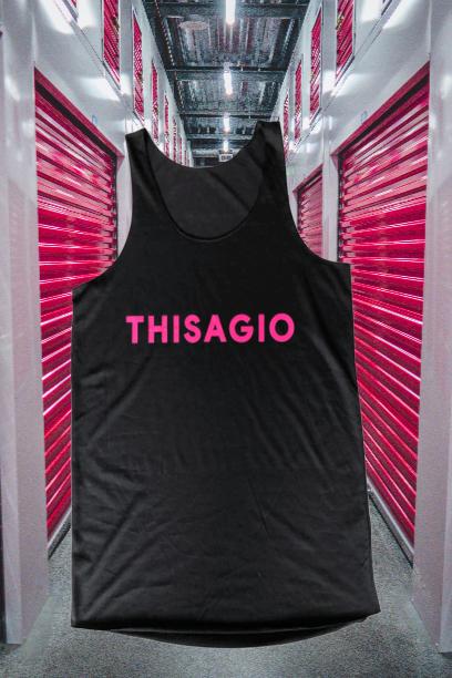 Thisagio Canotta Nera - Logo Rosa Fluo