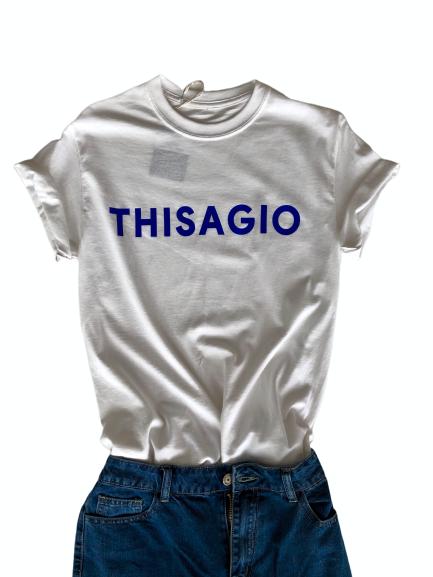 Thisagio Maglia bianca - Logo Blue Royal