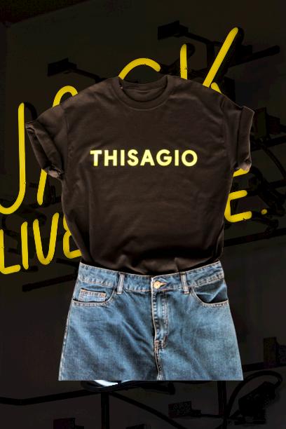 Thisagio Canotta Nera - Logo giallo fluo