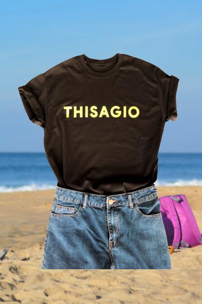 Thisagio Maglia Nera - Logo giallo fluo