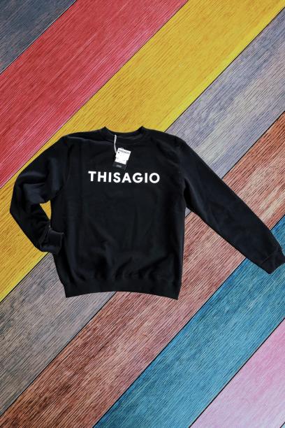 Thisagio felpa Nera - Logo BIANCO fluo