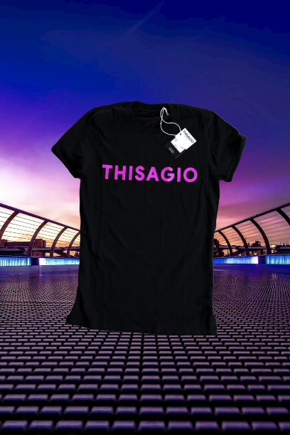 Thisagio Maglia Nera - Logo PINK fluo
